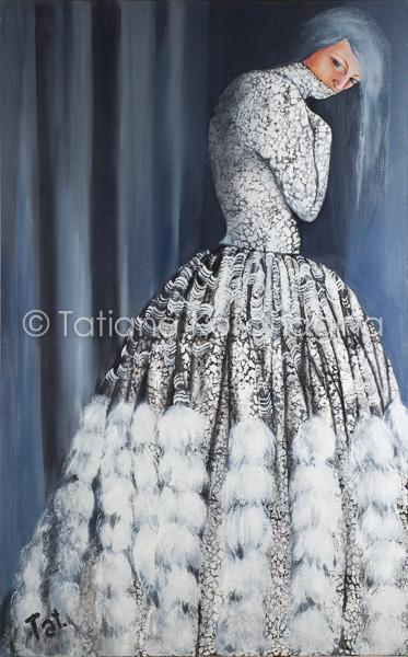 Schilderij portret van een introverte vrouw in een opvallende jurk